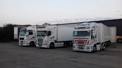 Pallet Distribution To Southern And Northern Ireland And The UK. LIF lorry fleet.